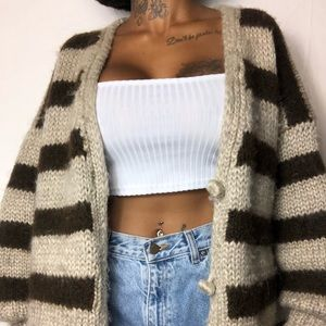 Sweaters - Oversized thick knit striped cardigan